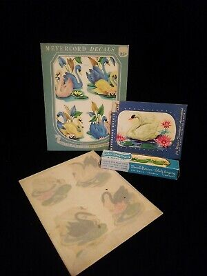 1940's Vintage DECALS for Kitchen Bath Decorating Swans See Pictures