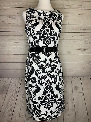 R&K ORIGINALS  Sleeveless Dress Black White Floral Print black patent belt sz 10 - Floral Patent Belt