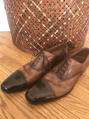 SILVANO SASSETTI men's capped toe antiqued brown dress shoes US 10 D