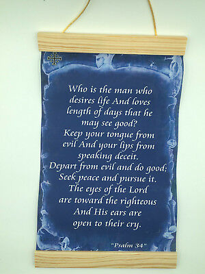 Psalm 34, Who is the man who desires life..., Canvas Wall Print, 8x12, Dark Blue