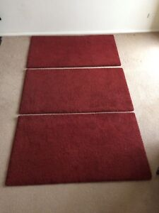 3 X Red Ikea Adum High Pile Rug As New