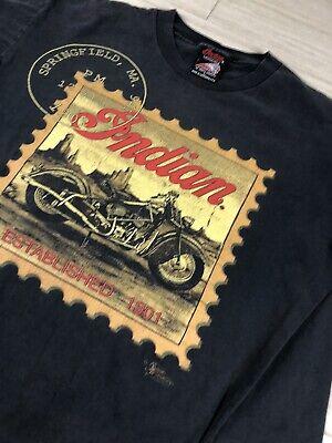 Vintage 1991 Indian Motorcycle Springfield Mass. T Shirt large Single Stitch