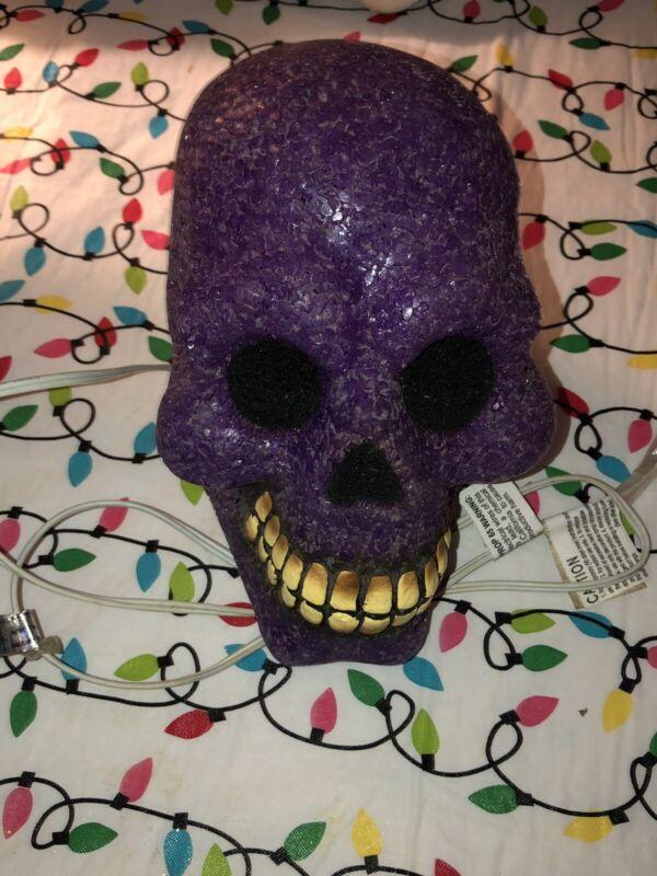 "VTG Halloween Melted Plastic Gel Blow Mold Skeleton Table Window Light Purple 7"""