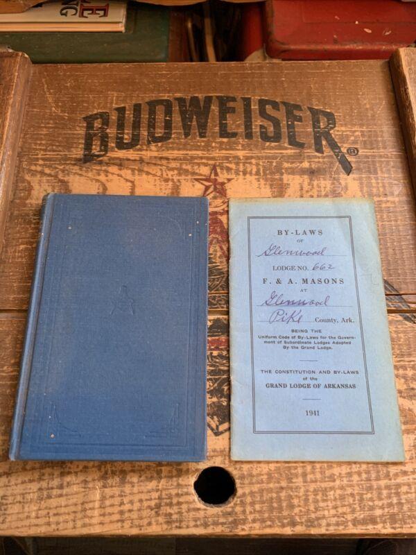 1938 Arkansas Masonic Monitor & 1941 Glenwood Arkansas Lodge By-Laws Masonry