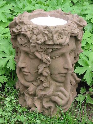 Vase Übertopf Jugendstil Frau Fee 4 Gesichter Look Kunst Sandstein B 13 ROT