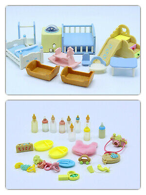 Sylvanian Families  / Calico Critters Nursery Furniture Lot B Beds,Toys, & more