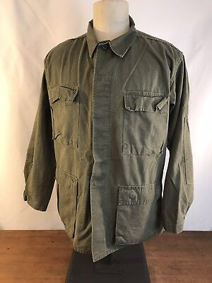 US Military Olive Drab Combat Coat Shirt Mens Size Medium Regular (J18)