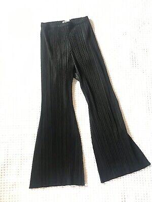 Issey Miyake Black Plisse Kick Flare Trousers Size 1 Uk 8 10