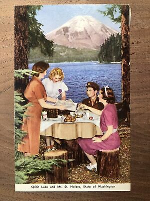 Vintage 1950 SPIRIT LAKE Mt. St. HELENS Washington State Picnic Soldier Postcard