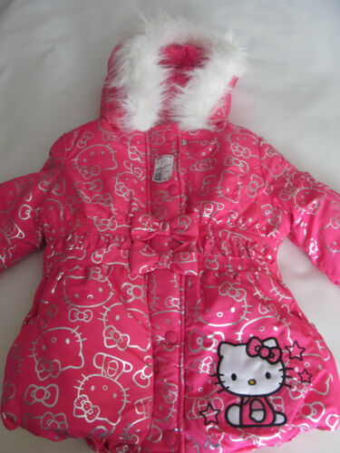 New Winter Hello Kitty Girls Puffer Pink Hooded Jacket Size 4 $85