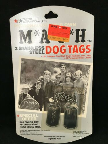 Vintage MASH TV SHOW sitcom 2 STAINLESS STEEL DOG TAGS WITH CHAIN NEW