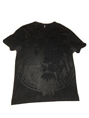 Black Verus Versace Lion Black Tshirt Top Designer Size L Authentic