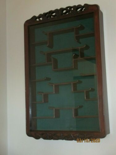 Beautiful Stunning Asian Antique Carved Glass Curio Cabinet