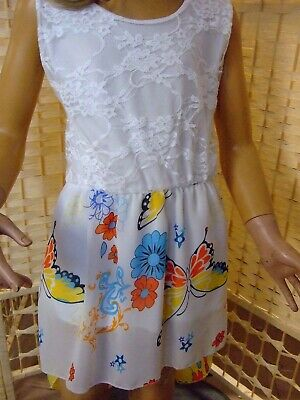 Mädchen Kinder Baby Sommer Kleid - Weiß/Bunt - Größe 4 Jahre - NEU (8-74 ) (Weiße Baby-sommer-kleid)