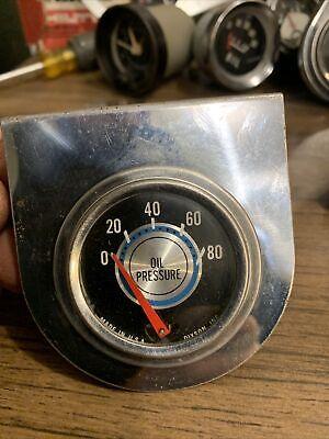 Vintage Blue Line Dixson Oil Pressure Guage And Mount hotrod gauges Gasser