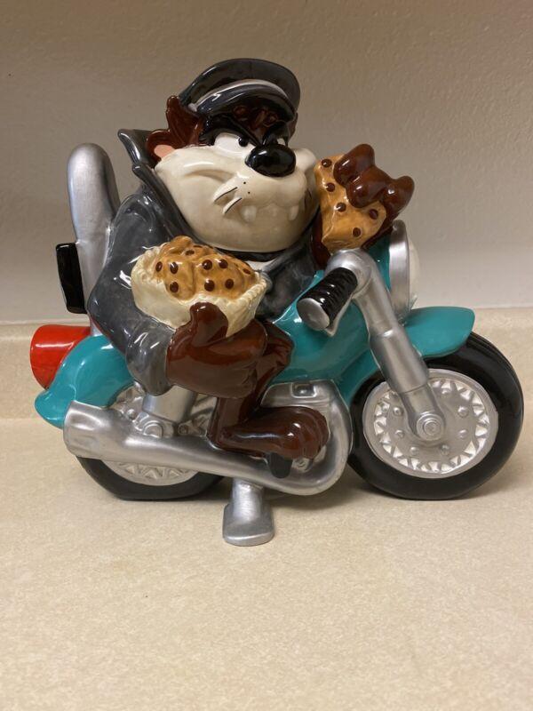 Warner Bros. Looney Tunes Tazmanian Devil Motorcycle Bike Cookie Jar 1998