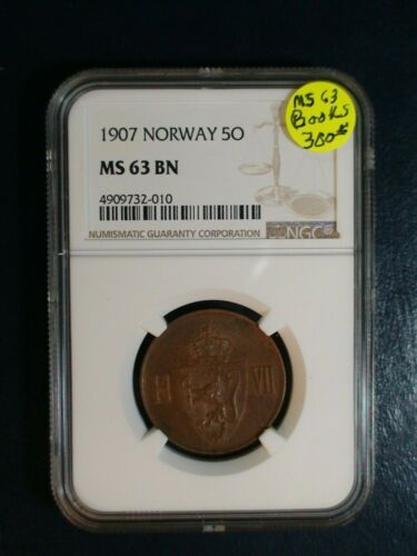 1907 Norway Five Ore NGC MS63 BN UNCIRCULATED 5O Coin PRICED TO SELL NOW!