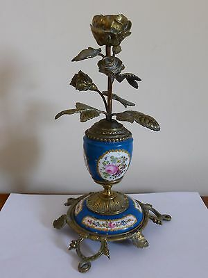 French Sevres style porcelain brass or bronze flower rose candlestick