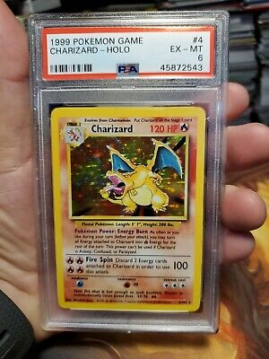 Pokemon Base Set Unlimited Charizard Graded PSA 6 Ex-Mt card
