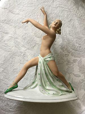 VINTAGE FASOLD & STAUCH  SEMI-NUDE PORCELAIN ART DECO FIGURINE GERMANY DANCER