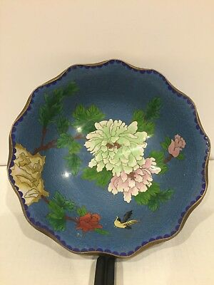 "Vintage  Blue Cloisonne Enamel Bowl With Birds And Flowers 11""D"