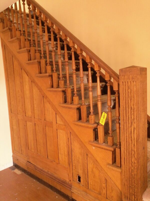 Vintage oak staircase architectural salvage antique balusters newel post railing