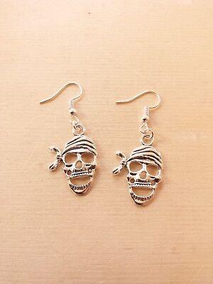 Totenkopf Ohrringe für Halloween/Karneval ♥ Handgefertigter Schmuck in Silber