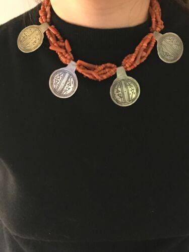 ANTIQUE BERBER Coral & Silver Necklace w Silver Niello Ida Ou Nadif Charms
