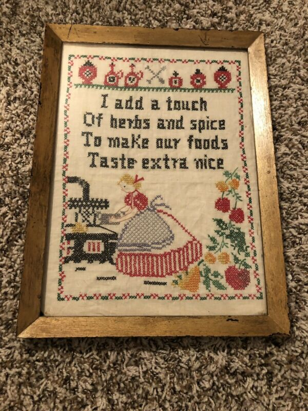 "vintage cross stitch sampler Original Frame Approx 14"" Tall x 10 1/2"" Wide"