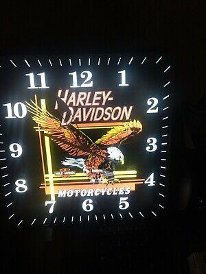 Vintage Pam Lighted Advertising Square Harley Davidson Motorcycle Clock