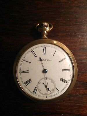 A. W. W.  WALTHAM, MASS.14 K GOLD PLATED POCKET WATCH WARRANTED ENGRAVED 1890S