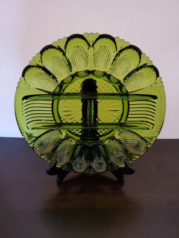 """Vintage 10 3/4"""" Deviled Egg & Relish Plate Green Carnival Glass Beautiful!"""