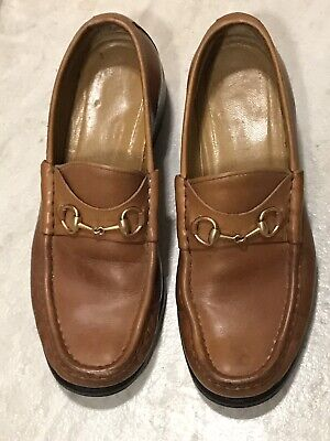 VINTAGE GUCCI WOMEN BRITISH TAN LEATHER HORSEBIT LOAFERS U.S 7.5 MADE IN ITALY