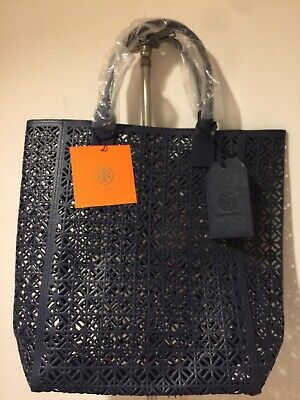 Tory Burch Navy Blue PVC Perforated     Fragrance Collection Gift Tote Bag NWT