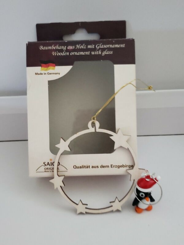 Saico Wooden Christmas Ornament With Glass Penguin Made In Germany NEW