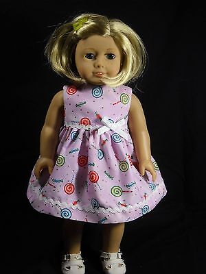 American Girl 18 inch Doll Dress Handmade Light Purple with Lolipops