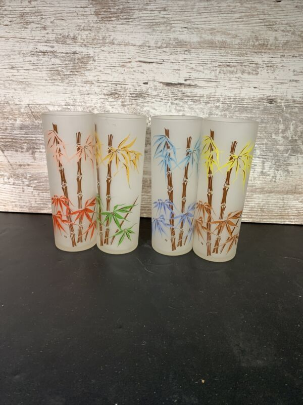 4 Vintage Federal Frosted Bamboo Tiki Design Tall Drinking Glasses 14oz