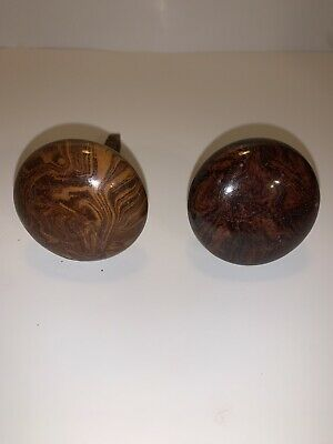 ANTIQUE brown swirl door knobs porcelain w/ spindle
