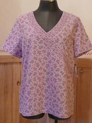 NEW w/ Tags Women Large Cotton Blnd Pullover Top Purple Short Slv Stretch V Neck