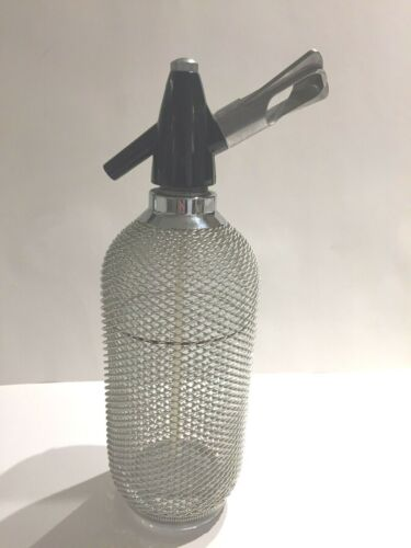 Lovely vintage SELTZER BOTTLE metal MESH WRAPPED Art Deco GLASS SODA SYPHON