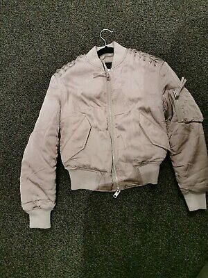 All Saints Women's Bree Laced Bomber Jacket In Almond Pink Size XS...