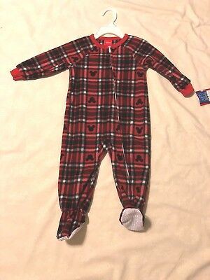 Disney Theme Jammies for your Families 1pc, Zip Front Red/Blk/Wht Print 18M, 24M - Disney Jammies