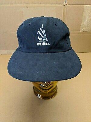 Vintage 90s Nautica Challenge Sailing Strapback Hat Cap Blue USA RARE Spellout🔥