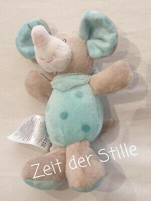 ERGEE KIK Greifling Rassel Stofftier Maus blau Punkte Stoffmaus Kuscheltier 18cm