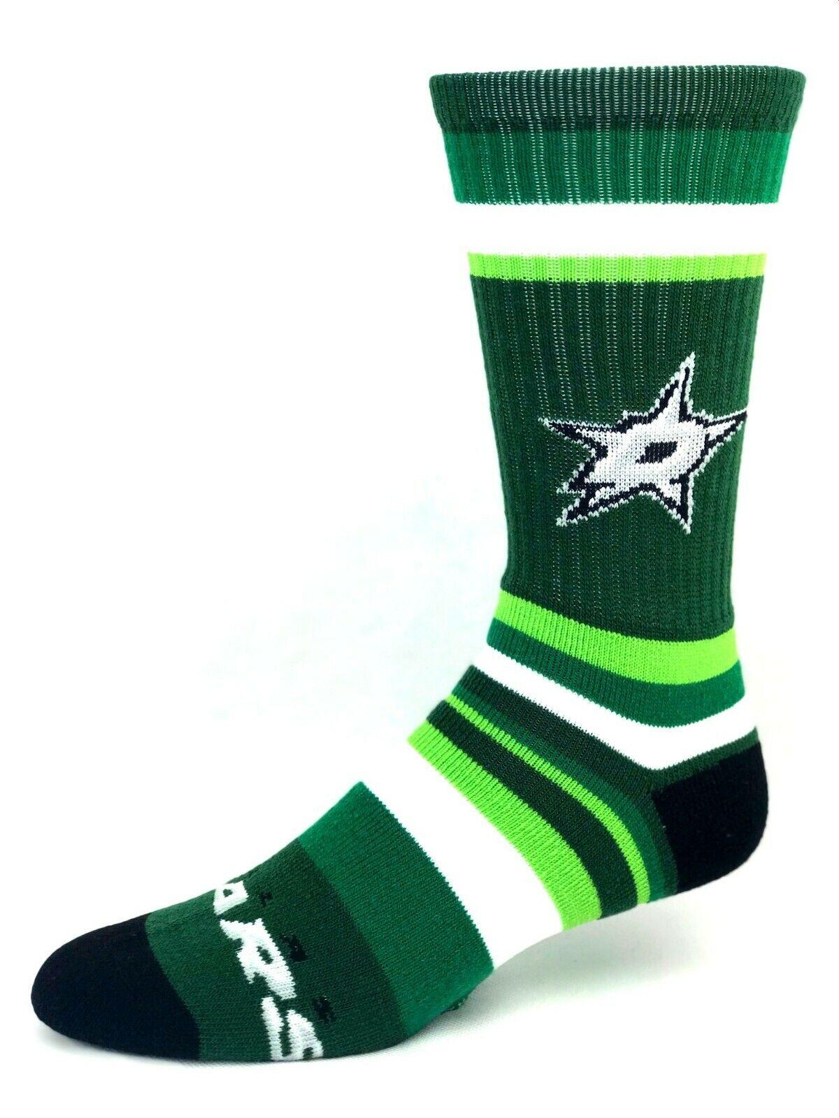 Dallas Stars Hockey Green Rainbow Stripe Deuce Crew Socks