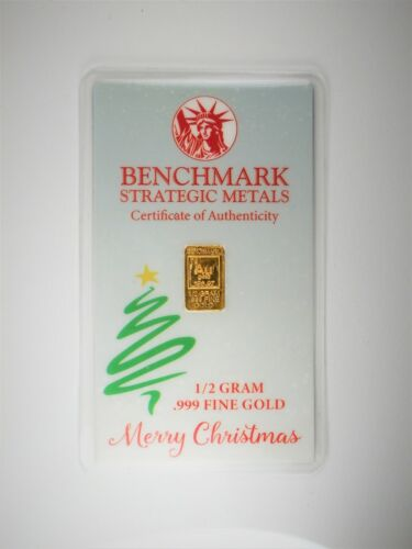 GOLD BULLION CHRISTMAS CARD .999 24k Benchmark bar pure GOLD 9mm X 15mm a2