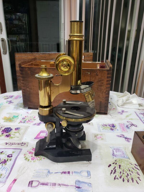 1905 Antique Brass Ernst Leitz Wetzlar Microscope Carrying Case NR & Accessories