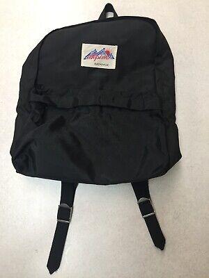 Vintage Alpine Backpack Daypack 2 Compartment Black Nylon Alpine Nylon Backpack
