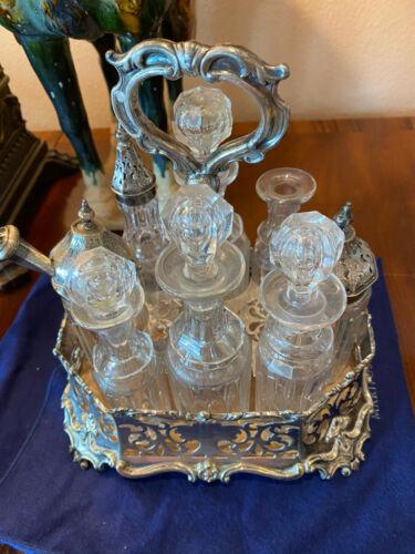 Estate Antique Silverplate Cruet Set 10 pcs  - 2 lids are Sterling