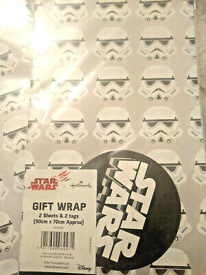 2 Sheets Star Wars StormTrooper Wrapping Paper & 2 Tags